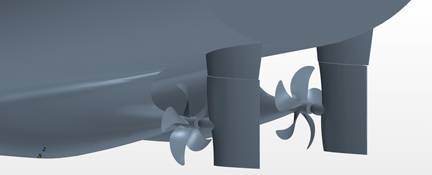 Figure 1: Detailed geometry for STAR-CCM+ simulation of ship self-propulsion