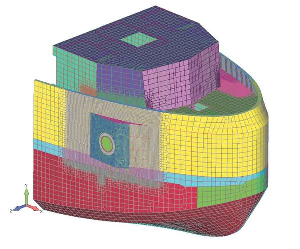 Figure 1: View of Global Finite Element Tug Model.
