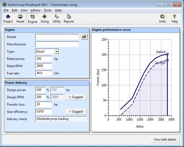 Figure 2 – HydroComp PropExpert 2013 interface