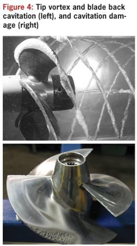 Figure 4: Tip vortex and blade back cavitation (top), and cavitation damage (below)