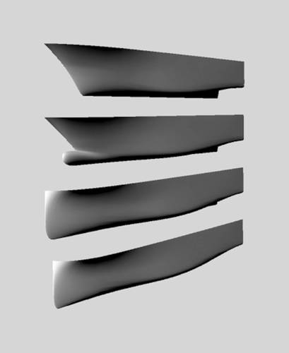 Figure 6: Hull forms used to evaluate the influence of a bow shape on the general seakeeping behavior of a yacht. (Image MARIN)