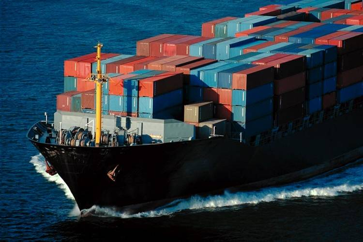 File image: a containership at sea.