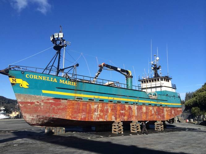 "Fishing boats in the Bering Sea take a beating.  Here is Cornelia Marine ""Before""..."