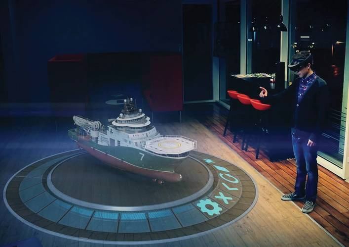 Fostech's mixed reality technology allows you to view not just a whole ship in 3-D, but by clicking with your fingers … (Photo: Fostech AS)