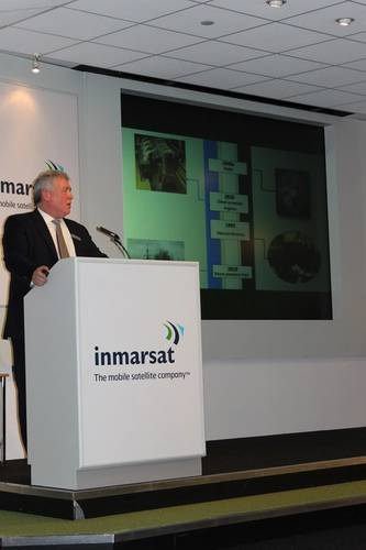Frank Coles, President, Inmarsat Maritime giving his keynote presentation
