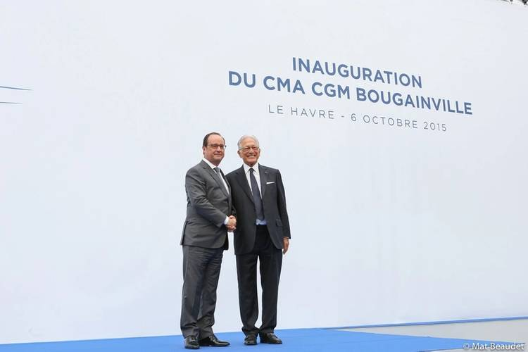 François Hollande with Jacques Saadé at the inauguration ceremony for CMA CGM Bougainville (Photo: CMA CGM)
