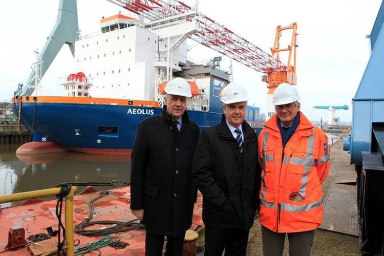From left: Berthold Brinkmann, Sietas Insolvency Administrator; Frank Horch, Hamburg's Senator for Economy, and Peter Bunschoten, Staff Director Technical Department at Van Oord, at Sietas Shipyard in front of the Aeolus