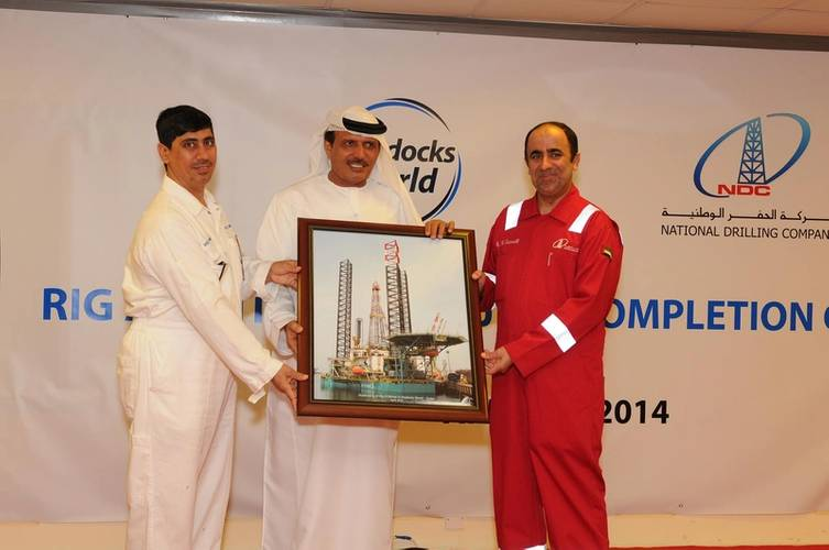 From left: DDW VP Ali Alsuwaidi, DDW Chairman Khamis Buamim and NDC CEO Abdalla Saeed Al Suwaidi (Photo: Drydocks World)
