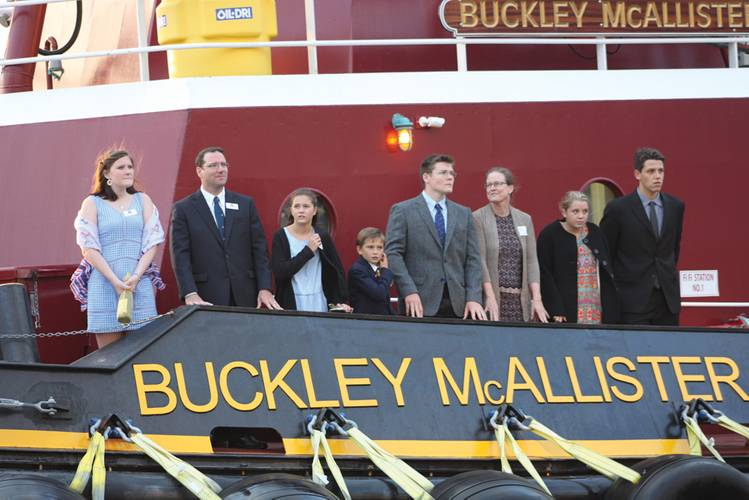 (From left) Janet McAllister (6th gen, Buckley's daughter), Buckley, Emily & Robert McAllister (6th gen, Eric's daughter and son), Rowan (6th gen, Buckley's son), and Beth Morrow, Buckley's wife, at the christening of Buckley McAllister in New York City.