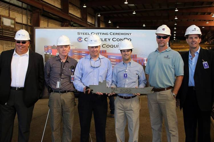 From left: Jensen's Dean Sahr, Manager, New Construction Projects and Jonathan Smith, Director, Construction Management, with Crowley's Ray Martus, Vice President, Construction Management; Tucker Gilliam, Vice President, Liner Services; Patrick Sperry, Manager, Construction Management; and Cole Cosgrove, Vice President, Operations