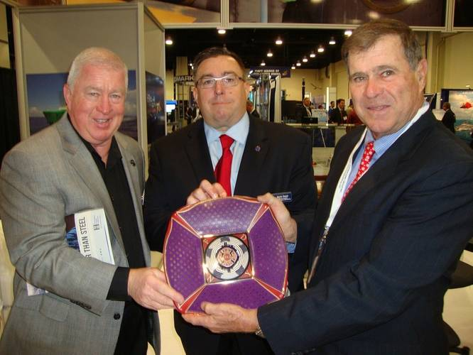 From left to right: Jim Carney, JCarney Company; Kevin Traver, Staff Vice President of Corporate Affairs for the Navy League of the United States; Brian D'Isernia, President of Eastern Shipbuilding Group, Inc. (Photo: Eastern Shipbuilding)