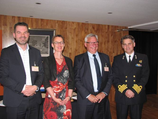 From left to right: M. C. Jeronimus, Vice President of Goltens Europe; Jurrien Baretta, Business Development Manager, Goltens Green Technologies; Tore Andersen, CEO, Optimarin; and Captain RNLN J F Kwak, Head Projects Procurement Division Ministry of Defense (Photo: Goltens)