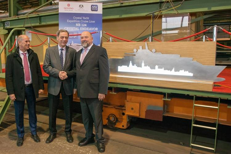 From left to right: Tom Wolber, Crystal President and CEO; MV WERFTEN CEO, Jarmo Laakso; and Mecklenburg-Western Pomerania's Economics Minister, Harry Glawe (Photo: MV Werften)