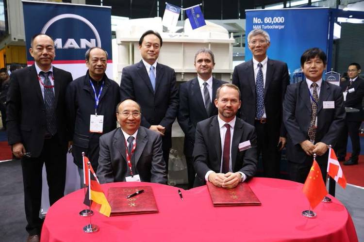 From left to right: Y.Q. Tan, Asst. President of CMES; Qian Deying, General Manager of CMD; Y.Q Huang, Deputy General Manager of CMES; Capt. Xie Chunlin, President of CMES; Dr. Uwe Lauber, CEO Man Diesel & Turbo SE; Dirk Balthasar, Vice President, Head of Global Turbocharger Sales; TY Jiao, Director, Hoi Tung Marine Machinery Suppliers Limited; CM Shui, General Manager, Hoi Tung Marine Machinery Department (Photo: MAN Diesel & Turbo)