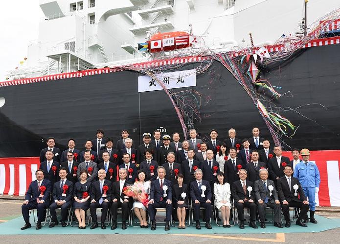 Front row, fifth from left, Satoshi Onoda, president of JERA; seventh, Seiji Izumisawa, president and CEO of Mitsubishi Heavy Industries; fourth, Tadaaki Naito, NYK president. (Photo: NYK Group)
