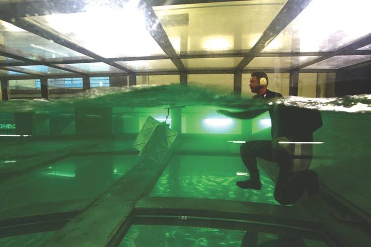 Full scale testing at the SUSTAIN wave-tank facility at the University of Miami, RSMAS. (Photo: GreenWave Instruments LLC)