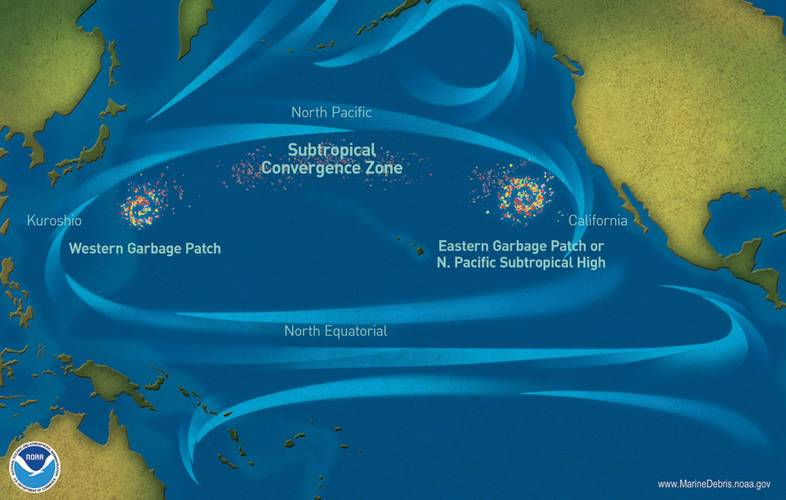 Garbage patches  in the Pacific Ocean.  (Image: NOAA)