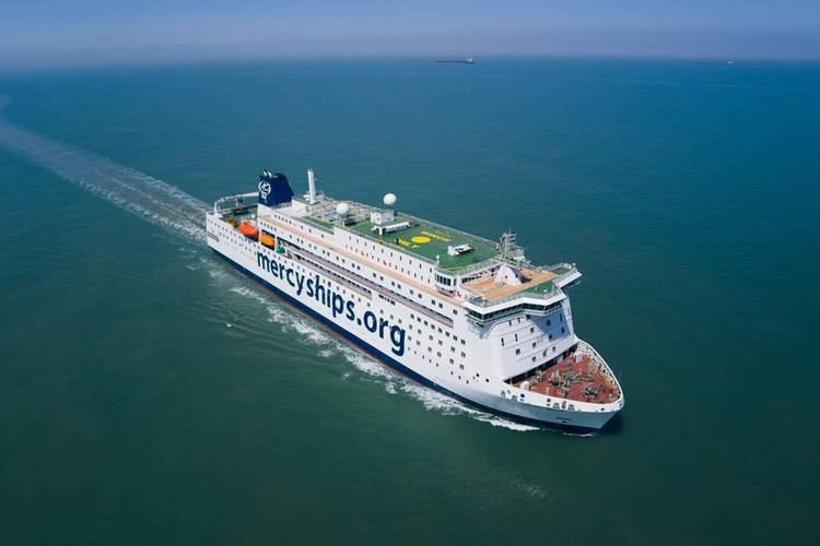 Global Mercy is diesel electric (4 x Wärtsilä 6L32s, just under 3MW).  Designed by DeltaMarin in Finland, the ship uses ABB pods for propulsion for a 12-knot service speed. Photo courtesy Mercy Ships