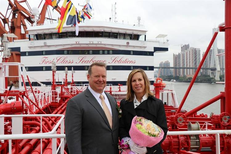 Godmother Jean Mulholland with her husband Kevin Mulholland from Phillips 66 (Photo: Stena Bulk)