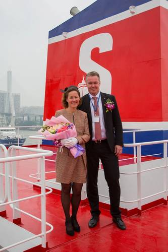Godmother Katarina Ljungqvist and Erik Hånell President & CEO, Stena Bulk (Photo: Stena Bulk)