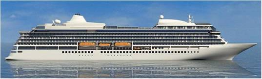 Graphical rendering of one of the new cruise ships. Each newbuilding weighs in at 47,800 gross tons, has a length of 227.2 m, and a width of 28.8 m