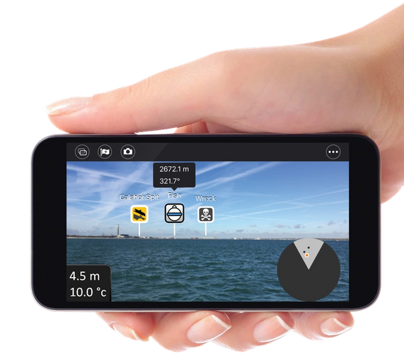 Hand-Phone WiFish AR App Photo Raymarine