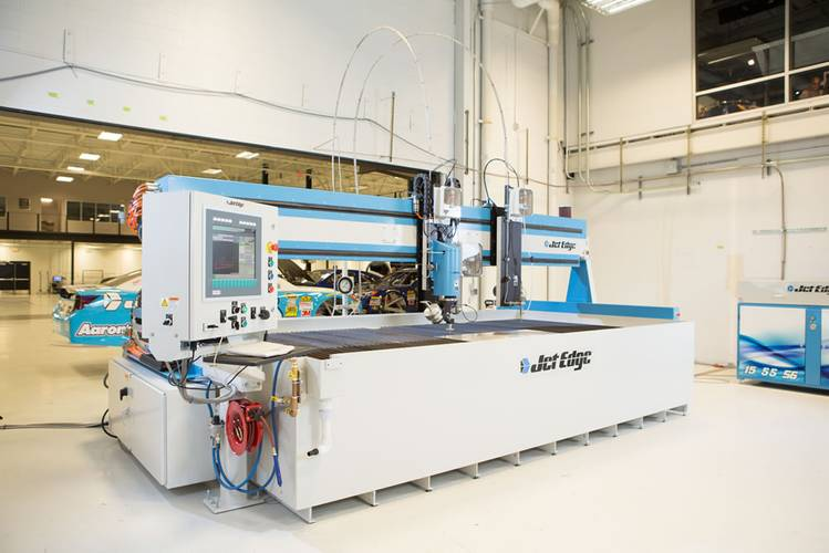 Michael Waltrip Racing recently installed Jet Edge's new EDGE X-5 5-axis waterjet.  MWR cuts more than 1,000 parts for each of their Sprint Cup Cars.