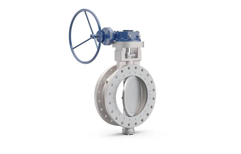 Illustration of a new Wärtsilä Shipham Valves 8-inch size, 150 lbs duplex butterfly valve