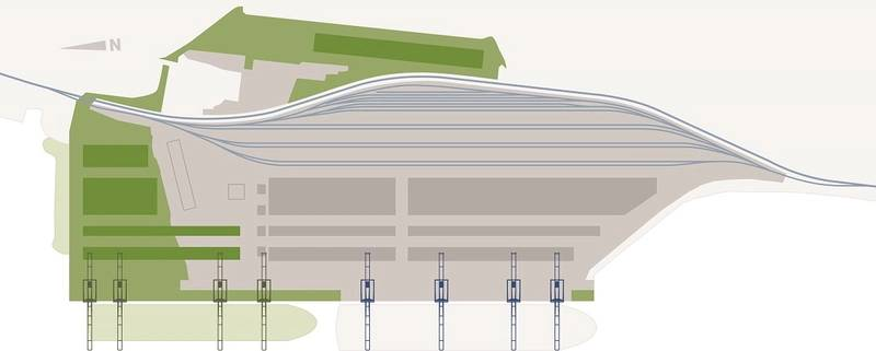 Illustration of expanded layout of Fairview Container Terminal -- green indicates expansion (Image credit: Prince Rupert Port Authority)
