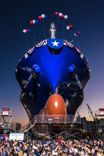 In August 2015 General Dynamics NASSCO launched Perla del Caribe, the second ship in a series of natural gas powered containerships for TOTE (Photo: General Dynamics NASSCO)