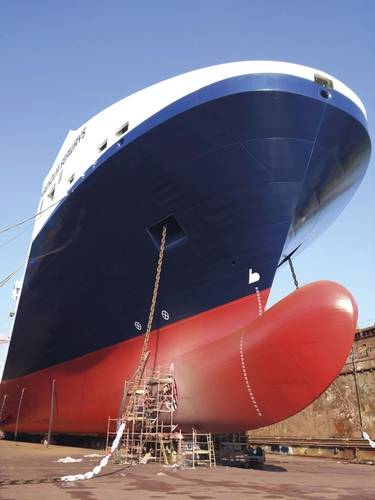 In July the underwater hull of the roro vessel Magnolia Seaways was coated with Ecospeed. (Photo: Subsea Industries)