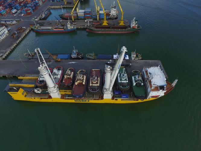 In Stock: A load of Damen workboats about to leave Singapore for Europe
