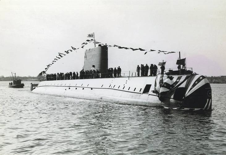 In this file photo taken Jan. 21, 1954, the nuclear-powered submarine USS Nautilus (SSN 571) is in the Thames River shortly after a christening ceremony. Photo Courtesy U.S. Navy