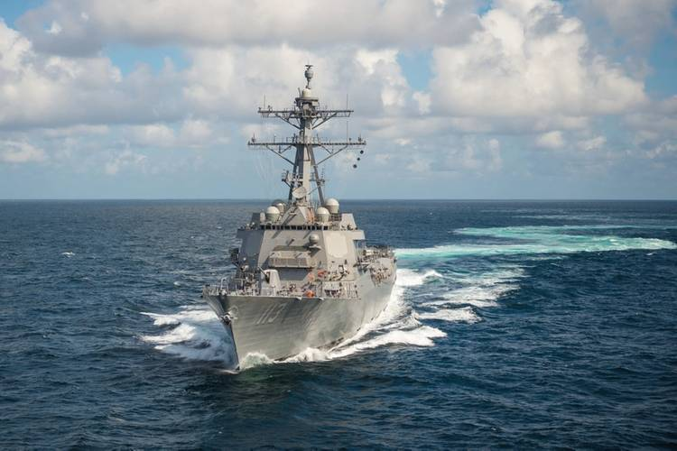 Ingalls Shipbuilding's 29th Arleigh Burke (DDG 51) destroyer John Finn (DDG 113) sails the Gulf of Mexico during Alpha sea trials. (Photo: Lance Davis/HII)