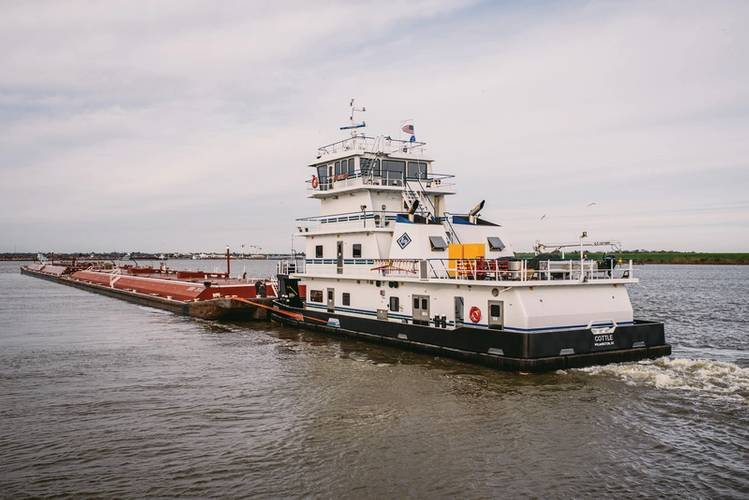 Inland pushboat and barge. Source Kirby Corporation