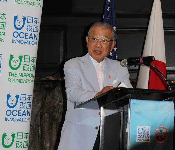Nippon Foundation Chairman Yohei Sasakawa speaking at the signing of an MOU with Deepstar. Photo: Greg Trauthwein