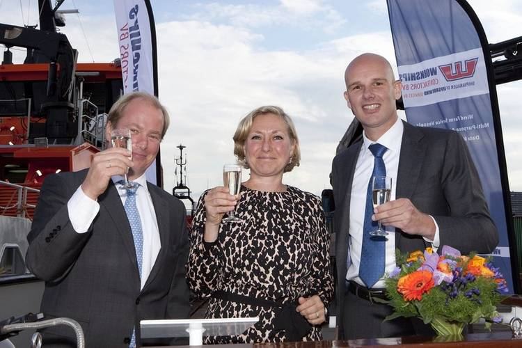 Jan Dirk Hudig, Managing Director Offshore Wind Services; Ellen Cornelise Nieuwenhuis, wife of Pieter Tavenier, ENECO, who performed the naming ceremony; and Jelle Meindertsma, Regional Sales Manager Benelux, Damen Shipyards Group (Photo: Damen)