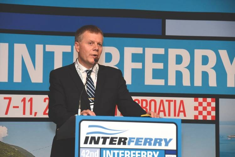 Jan Helge Pile, of Norway's Colorline, told of his firm's designing of a new 160-meter, 2000-passenger, Ro-Pax ferry with about a 500-car capacity for a route between Norway and Sweden. (Photo: John Nedwidek/Interferry)