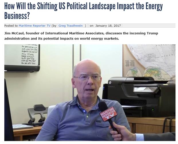 Jim McCaul speaks to Maritime Reporter TV regarding energy trends. http://www.marinelink.com/videos/video/how-will-the-shifting-us-political-landscape-impact-the-energy-100115 (Source: Maritime Reporter TV)