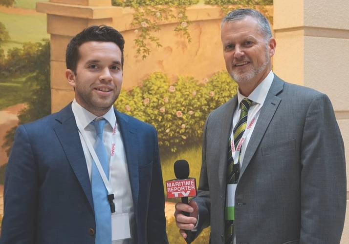 Jonathan Dowsett (left) interviewed with MAritime Reporter V at SHIPPINInsight 2016 in Stamford, Conn. (Photo: Eric Haun, Maritime Reporter TV)
