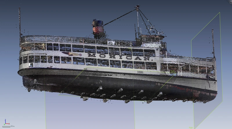 Laser scanning of the 107-year-old vessel Mohican (Image: API Services)