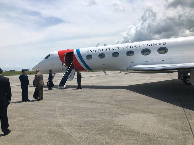 Last month Maritime Reporter & Engineering News was invited to join Admiral Karl Schultz, the Commandant of the United States Coast Guard, on his jet for a trek to New Orleans for an underway tour onboard a mid-stream transfer operation in the Mississippi River.  Photo: Greg Trauthwein