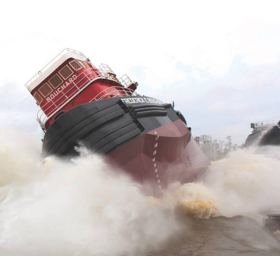 Launch of the M/V Frederick E. Bouchard, April 2016. (Photo: Bouchard)