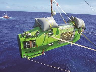 Launching the Deepsea Challenger (image courtesy of James Cameron)