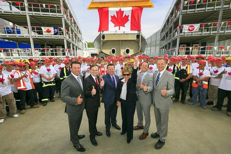 Kyle Washington - Seaspan Executive Chairman, Andrew Saxton – MP North Vancouver, Brian Carter – President, Seaspan Shipyards, Minister Diane Finley – Public Works & Government Services Canada, John Weston – MP West Vancouv