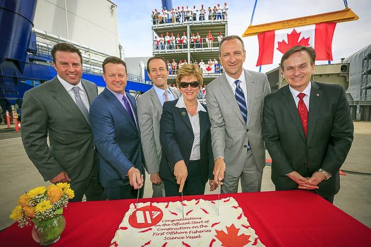 Kyle Washington – Seaspan Executive Chairman, Brian Carter – President, Seaspan Shipyards, John Weston – MP West VancouverSunshine CoastSea to Sky, Minister Finley – Public Works & Government Services Canada