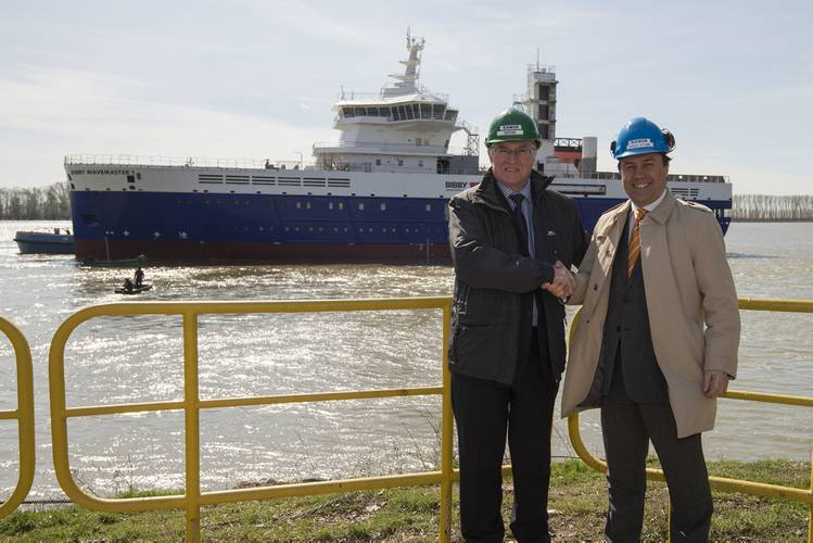Left to right: Stephen Blaikie, Chief Executive Officer, Bibby Marine Services Ltd; with Florin Spataru , Human Resources & Corporate Affairs, Damen Shipyards Galati. (Photo: Damen)