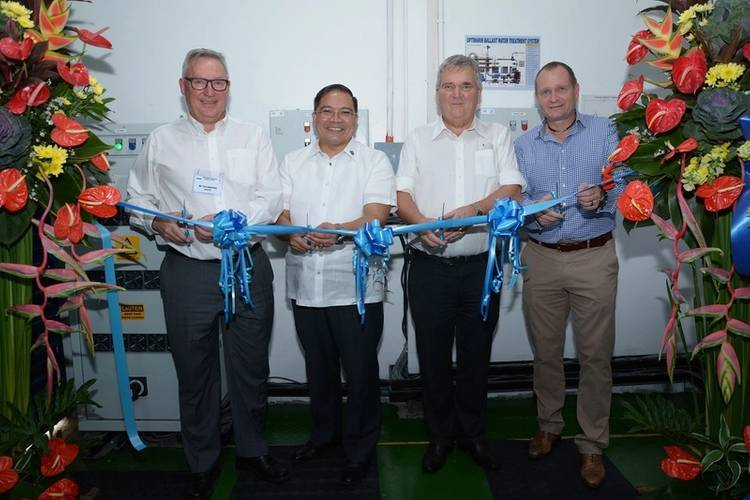 Left to right: Tore Andersen, CEO Optimarin; Marcial Q. C. Amaro III, PHD, Administrator Maritime Industry Authority; Eivind Holte , Senior Technical Manager Saga Shipholding; Bjørn Højgaard CEO Anglo Eastern (Photo: Optimarin)