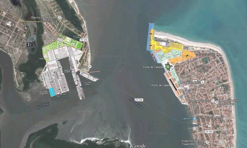 Location of the EDPI yard on left of image across the harbor from the Port of Cabedelo (Image: Port of Cabedelo)