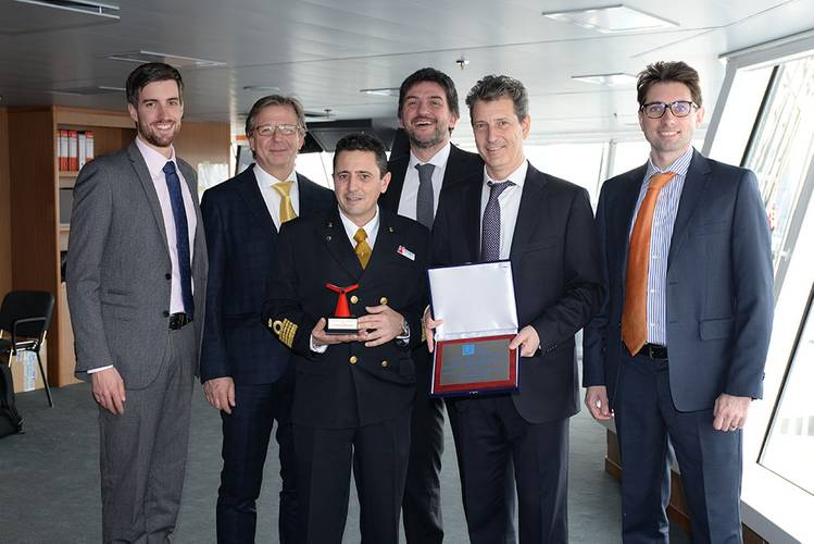 LR staff on with Carnival Horizon Captain Luigi De Angelis, left-right: Tom Wright, Surveyor, Marghera Site Team; Valter Tissone, Senior Surveyor, Marghera Site Team; Captain Luigi De Angelis; Nicola Pietro Villani, Project Manager; Luciano Falcone, Team Leader, Marghera Site Team; Federico Renaldi, Surveyor, Marghera Site Team (Photo: Lloyd's Register)